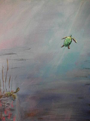 Sun Rays Painting - Goodbye Turtle by Christopher Carter