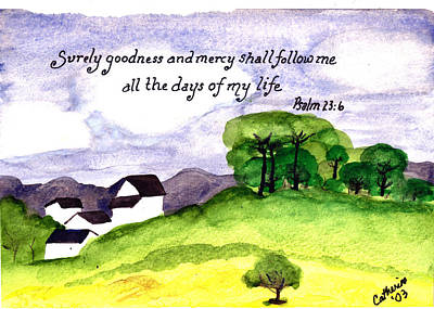 Watercolor Painting - Goodness And Mercy by Catherine Saldana