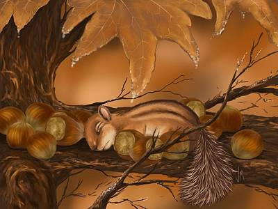 Squirrel Wall Art - Painting - Goodnight Baby Squirrel by Veronica Minozzi