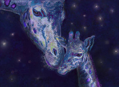 Digital Art - Goodnight Giraffes by Jane Schnetlage