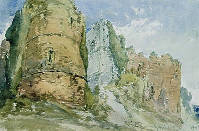 Castles Drawing - Goodrich Castle by William Callow