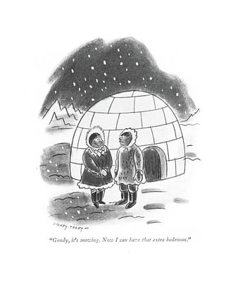 Inuit Drawing - Goody, It's Snowing. Now I Can Have That Extra by Barney Tobey