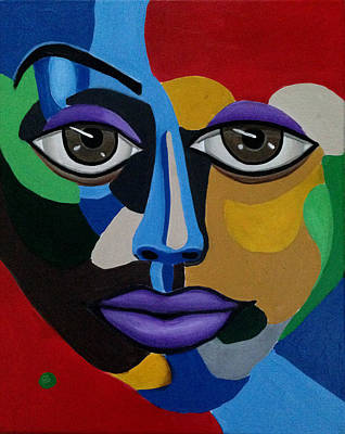 Painting - Abstract Face Art Abstract Painting Eye Art by Ai P Nilson