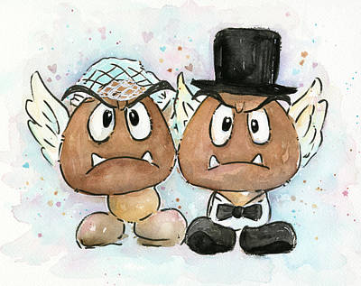 Video Game Painting - Goomba Bride And Groom by Olga Shvartsur