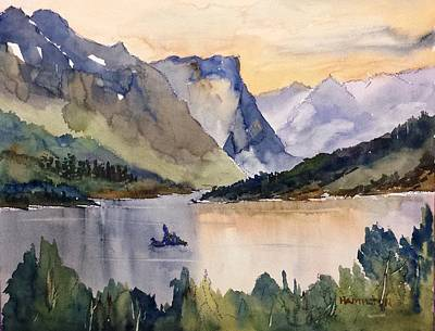 Painting - Goose Island Glacier National  Park by Larry Hamilton