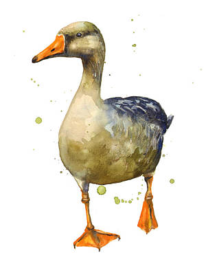 Geese Painting - Goose Painting by Alison Fennell