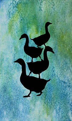 Goose Mixed Media - Goose Pile On Aqua by Jenny Armitage