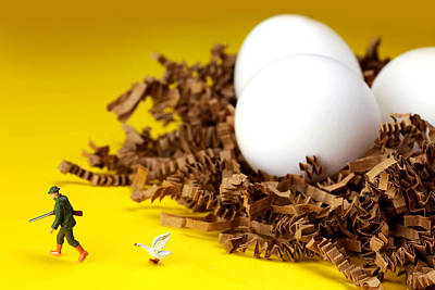 Whimsy Photograph - Goose Protecting Eggs Little People On Food by Paul Ge