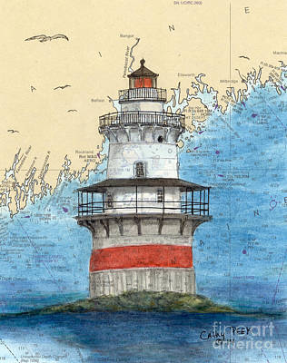 North Haven Island Painting - Goose Rocks Lighthouse Me Nautical Chart Peek Art by Cathy Peek