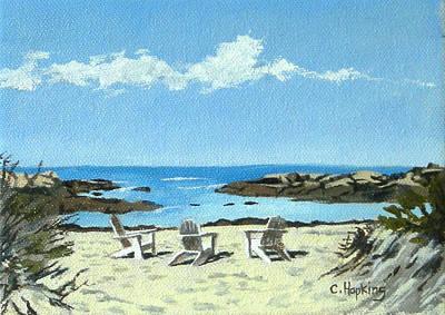 Shell Beach Inn Painting - Gooseberry Beach Newport Rhode Island by Christine Hopkins