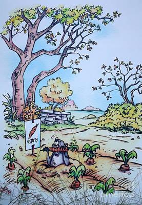 Gopher Eating The Kerits - Fantasy Art Print by Linda Rae Cuthbertson