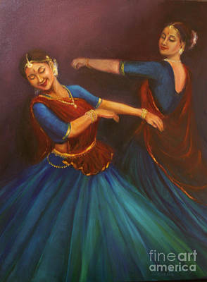 Gopis Dancing To The Flute Of Krishna Art Print