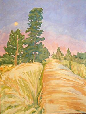 Nederland Painting - Gordon's Gulch Moonset by Al Hart
