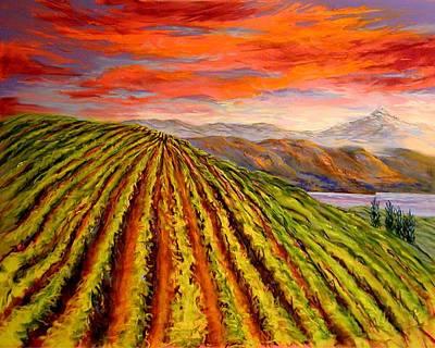 Mt Hood Painting - Gorge Vineyard by Lynee Sapere