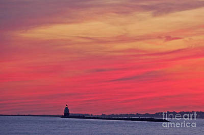 Photograph - Gorgeous Connectiut Lighhouse Sunset by Cindy Lee Longhini
