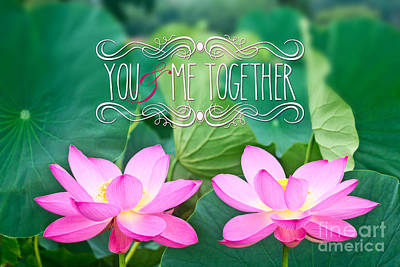 Photograph - Gorgeous Pair Pink Lotus Couple Blossoms Green Leaves by Beverly Claire Kaiya