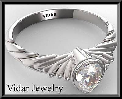 14k Jewelry - Gorgeous Pear Diamond 14k White Gold Engagement Ring  by Roi Avidar