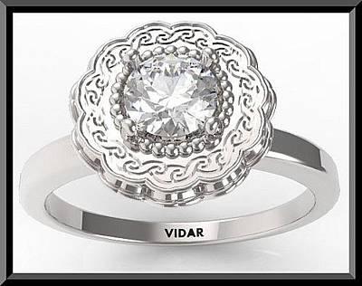 14k Jewelry - Gorgeous Round Diamond 14k White Gold Engagement Ring  by Roi Avidar