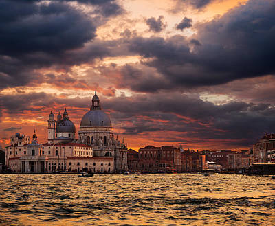 Gorgeous Sunset Over Grand Canal In Venice Art Print