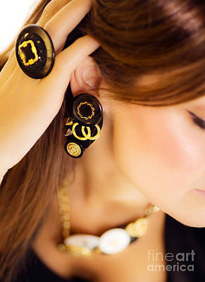 Gold Earrings Photograph - Gorgeous Woman by Anna Om