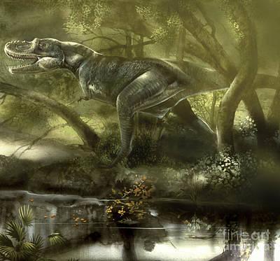 Searching Digital Art - Gorgosaurus Dinosaur Hunting For Food by Jan Sovak