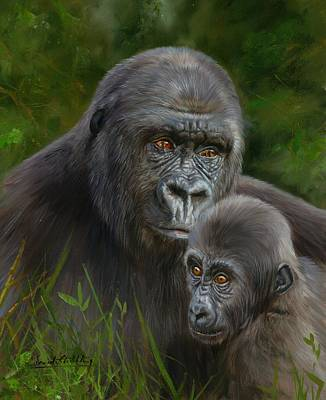 Ape Painting - Gorilla And Baby by David Stribbling