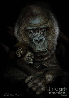 Digital Art Digital Art Drawing - Gorilla  by Andre Koekemoer