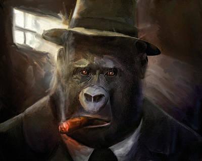 Ape Mixed Media - Gorilla Gangster by Gustav Boye
