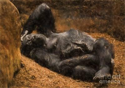 Gorilla - Painterly Art Print by Les Palenik