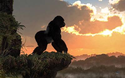 Animals Digital Art - Gorilla Sunset by Daniel Eskridge