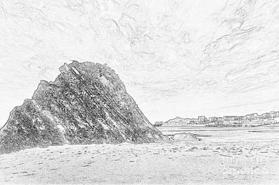 Photograph - Goscar Rock Tenby Pencil Sketch by Steve Purnell