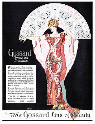 Drawing - Gossard 1920s Usa Womens Corsets by The Advertising Archives