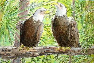 Painting - Gossiping Eagles by Elizabeth Crabtree