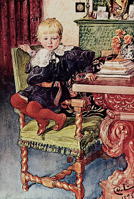 Desk Painting - Gosta by Carl Larsson