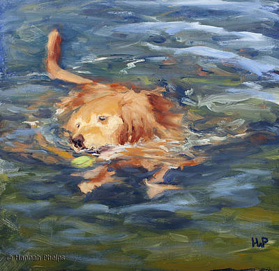 Dog Play Sea Painting - Got It by Hannah Phelps