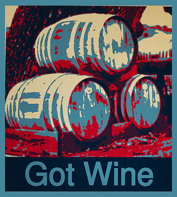 Wine Barrel Digital Art - Got Wine Blue by Barbara Snyder