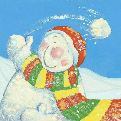 Snowball Fight Painting - Gotcha by David Cooke