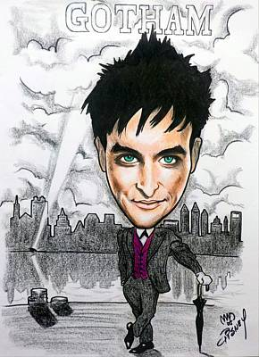 Drawing - Gotham - Robin Taylor As Oswald Cobblepot The Penguin by Michael Dijamco