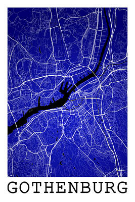 City Digital Art - Gothenburg Street Map - Gothenburg Sweden Road Map Art On Color by Jurq Studio