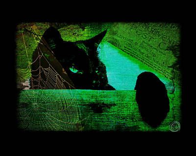 Digital Art - Gothic Black Cat by Absinthe Art By Michelle LeAnn Scott
