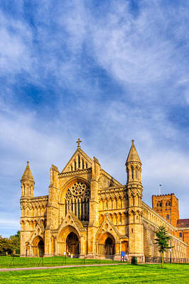 Photograph - Gothic Face Of St Albans Abbey Reaching Skyward by Mark E Tisdale