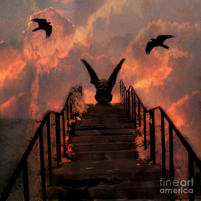 Fantasy Surreal Spooky Photograph - Gothic Gargoyle On Staircase Into Clouds With Flying Ravens - Surreal Gothic Gargoyle And Ravens by Kathy Fornal
