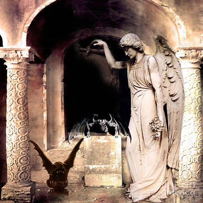Fantasy Surreal Spooky Photograph - Gothic Gargoyles Angels Fantasy Dark Spooky Halloween Art  by Kathy Fornal
