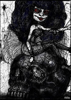 Gothic Girl And Skull Original by Akiko Okabe