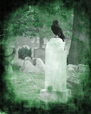 Birds In Graveyard Photograph - Gothic Green by Gothicrow Images
