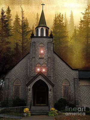 Gothic Old Church Autumn Forest Woodlands Art Print by Kathy Fornal