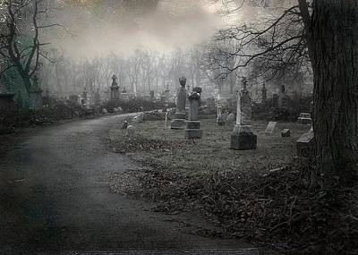Graveyard Road Photograph - Spooky Graveyard Gothic Path by Gothicrow Images