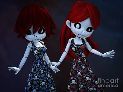 Gothic Rag Dolls Art Print by Alexander Butler