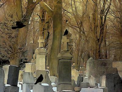 Ravens In Graveyard Photograph - Gothic Splash by Gothicrow Images