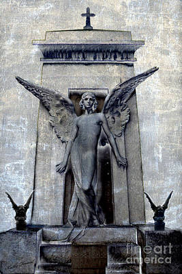 Photograph - Gothic Surreal Angel With Gargoyles - Fantasy Angel Gargoyle Cemetery Grave Art by Kathy Fornal